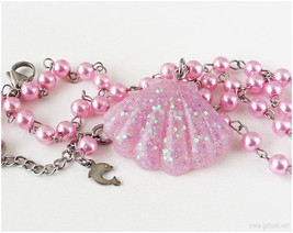 Pink Seashell Pearl Necklace, Handmade, Kawaii Jewelry, Jfashion, Summer... - $19.00