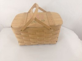 Vermont Basketville Hinged Lid Swing Handle Woven Wood Floral Top Picnic... - $23.71