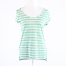 Teal green gold striped stretch shimmery THE LIMITED cap sleeve blouse S - $9.99