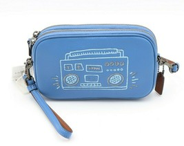 NWT Coach X Keith Haring Blue Leather Crossbody Wristlet Clutch Bag 2868... - $125.00