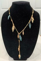 Robert Lee Morris Sculptural Linked Leaf Necklace Gold & Blue Green Patina - £36.53 GBP