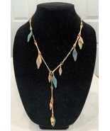 Robert Lee Morris Sculptural Linked Leaf Necklace Gold & Blue Green Patina - £35.53 GBP