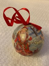 Vintage Paper Mache Christmas Ornament w Santa and angel Cherub Design Used - $15.79