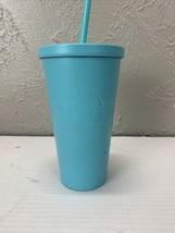 Starbucks Matte Tiffany blue Tumbler with straw 16 oz - $42.03