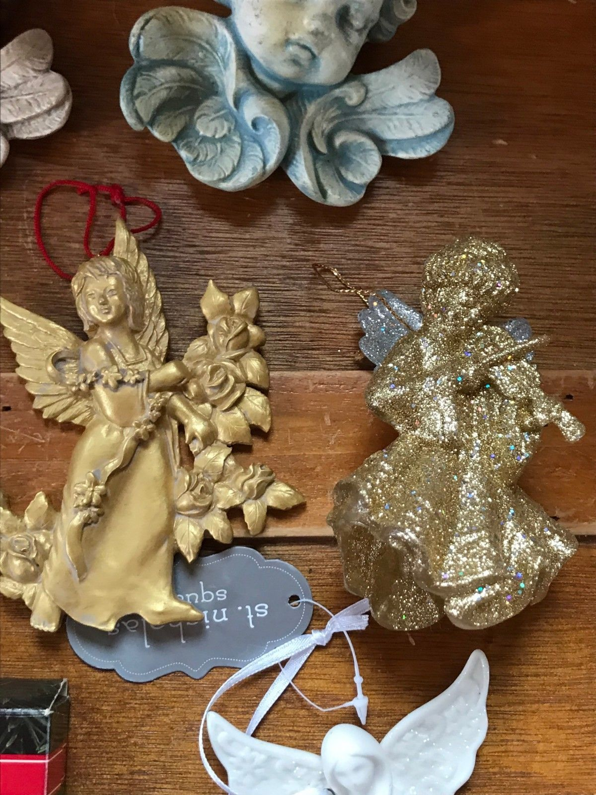 Estate Lot of Hallmark Heavenly Gilt Painted Resin Sparkly Silver Plastic White  image 4