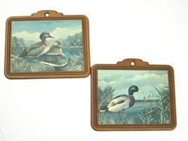 2 Vintage AJ Rudisill Mallard Duck Bird Fowl Art Print Wood Wall Plaques... - $19.99