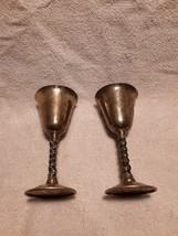 "2 Vtg FB Rogers Silver Plate Wine Water Goblets Glasses Twist Stem 5"" Spain - $19.59"
