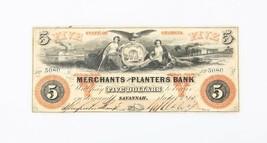 1860 US Five Dollar Note Merchants & Planters Bank Savannah Georgia - $105.62