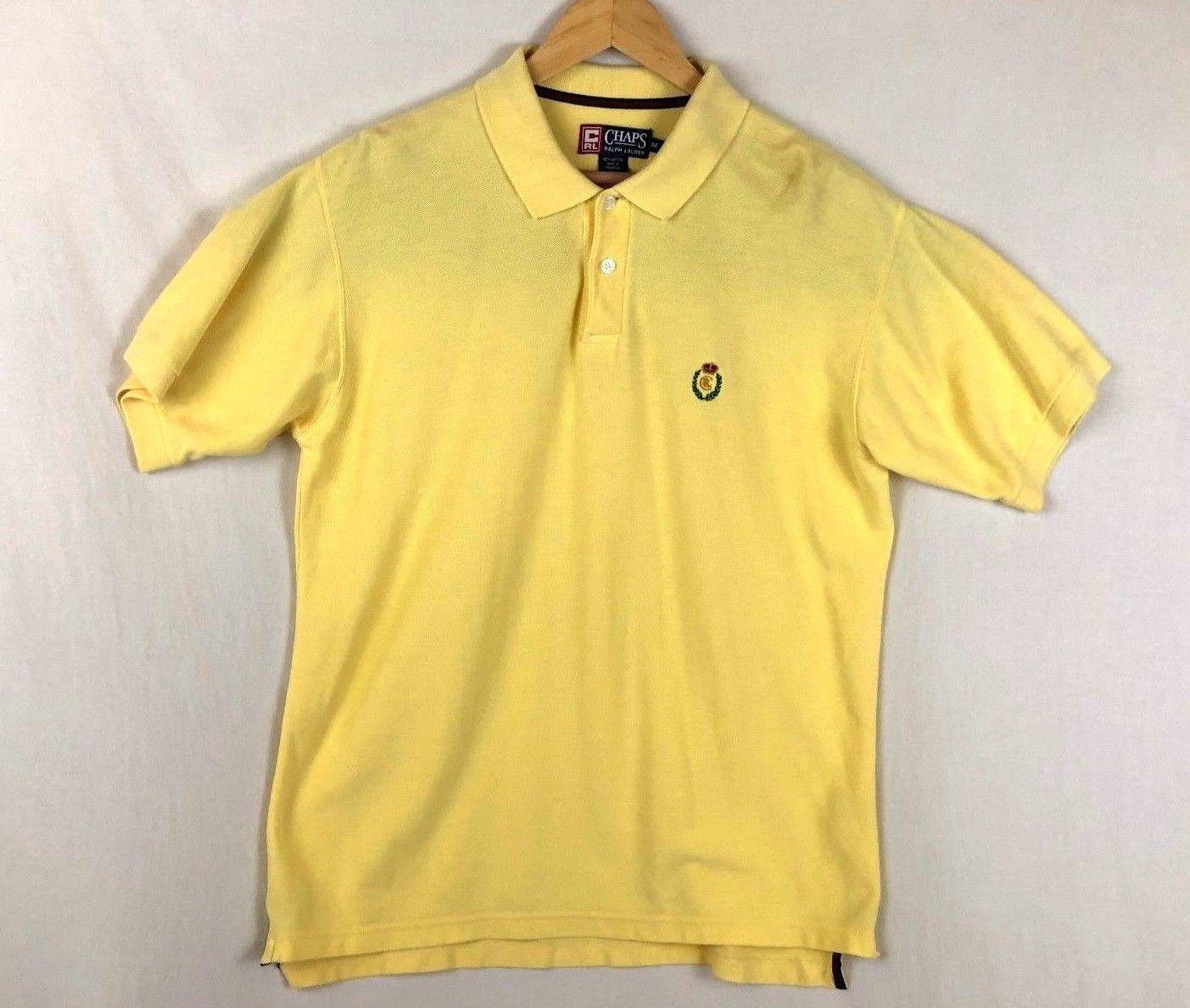 8f60ab335 S l1600. S l1600. Previous. Vintage Chaps Ralph Lauren Mens Yellow Size  Medium Short Sleeve Polo Shirt
