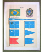 FLAGS Brazil National Coat of Arms Admiral Commodore - 1899 Color Litho ... - $16.20