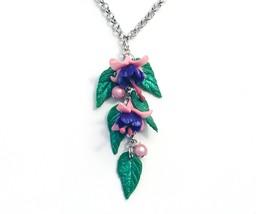Fushia pendant. Long necklace, pink and purple - $25.00