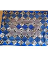 Camo blue tan fleece baby lap quilt handcrafted patchwork 27 x 36 - $35.00
