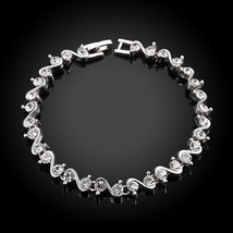 Made with Swarovski Crystals Bracelet in Silver Tone Brass - $12.73