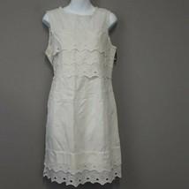 NWT J.Crew Ivory Lace Scallop Ruffled sleeveless shift Dress Size 10,100... - $36.97