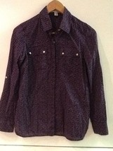 Banana Republic Women's Button Front Long Sleeve Purple Print Petite XS - $9.95