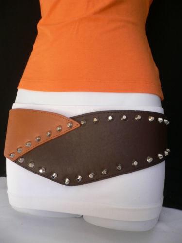 Damengürtel Elastisch Hüfte Taille Braun West Silber Groß Spikes Mokka Farbe