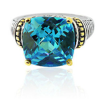 15.46CT 925 Silver Antique Cushion Cut Aquamarine Unique Design Ring 18K... - $107.91