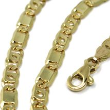 """SOLID 18K YELLOW GOLD CHAIN TIGER EYE ALTERNATE FLAT PLATES LINKS 4 mm, 24"""" image 3"""