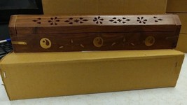 Coffin Incense Burner Brown with Brass Ying Yang Carved Wood Cones & Sticks