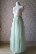 Floor Length Full Tulle Skirt Bridesmaid Long Tulle Skirt Back-bow Pastel Green  image 9