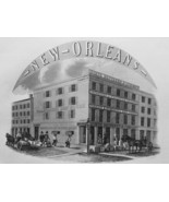 1853 PRINT: New Orleans North Bros Co Bldg & AD: Priestly & Bain Steel I... - $30.60