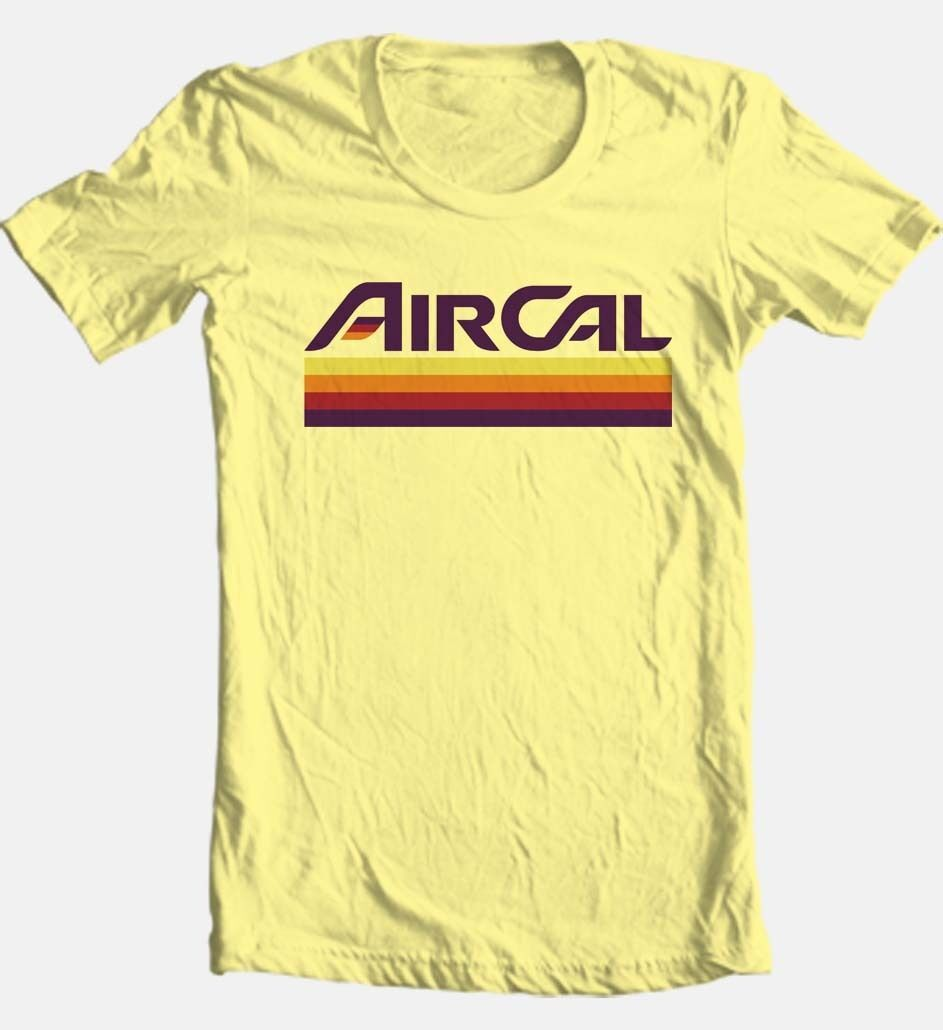 Air Cal T-shirt Free Shipping retro vintage style 100% cotton graphic tee