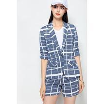 Women's Famous Brand Designer Blue Plaid Blazer Shorts Fashion Suit image 3