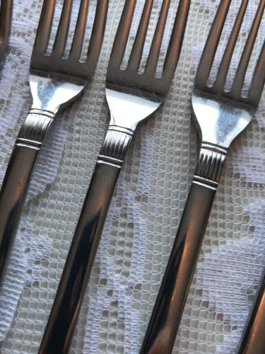 """4 CAMBRIDGE SILVER JESSICA STAINLESS 6 1//2/"""" SALAD FORKS"""