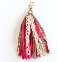 Bright Pink Tassel Keychain, Tassel Keyring, Purse Charm Tassel, Fabric Keychain