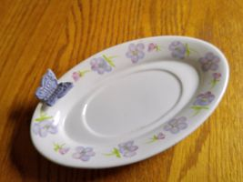Hallmark Candle Holder Plate Ceramic Oval White with Purple Flowers & Butterfly - $9.59