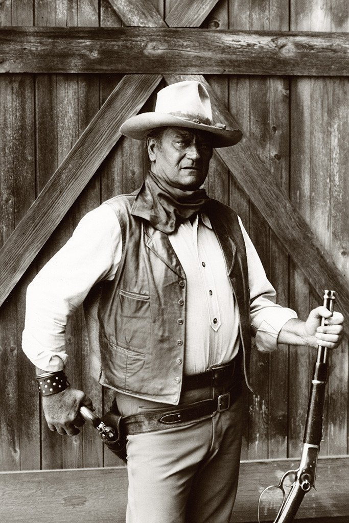 JOHN WAYNE POSTER 24x36 IN Classic Western Cowboy Gun Rifle Out of Print Import