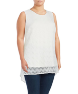 New Nordstrom Vince Camuto Plus Size 1X White Lace Mesh-Overlay Women's Top - $29.39