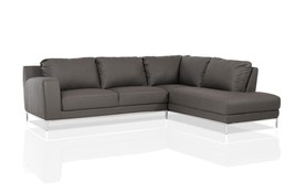 BELLEVUE NEW Modern Gray Eco Leather Living Room Set Sofa Couch Chaise Sectional