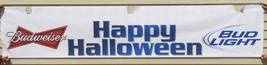 "Budweiser Bud Light Beer Poster Sign Happy Halloween Bar Restaurant 120""... - $24.74"
