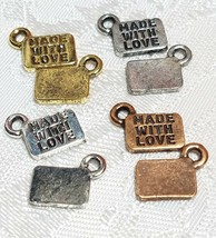 2pcs. Made With Love Jewelry Tags Fine Pewter Pendant Charms - 11x8.5x1mm
