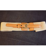 "WOMEN'S FASHION BELT Brown Elastic Expandable w/ Brass tone Buckle 2""wd ... - $7.91"