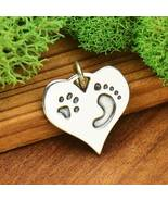 Footprint-And-Pawprint Heart Charm Sterling Silver 16x14mm, 1Pc (13163)/1 - $14.07