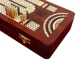 "14"" 4 Track Continuous Cribbage Board W/ Card Storage Maple Tracks on Bl... - $149.65"
