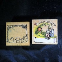 Rubber Stamps Disney Bookplate Winnie Pooh Lot 2 Classic Robin Reading F... - $13.39