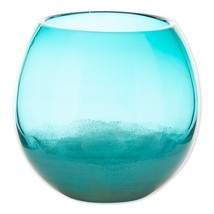 "Large Aquamarine Fish Bowl Art Glass Vase or use as Decorative Piece 7.25"" High - $43.95"