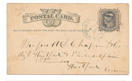 UX5 Forestville CT Cancel DPO Liberty Head Postal Card 1877 Chapin Co Fr... - $4.99