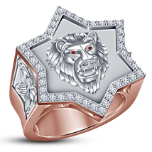 14k Rose Gold Plated Pure 925 Sterling Silver Men's Band Lion Head Weddi... - $147.88