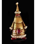 Vintage Hollycraft Brooch - Christmas tree santa claus - rhinestone pin - estate - $95.00