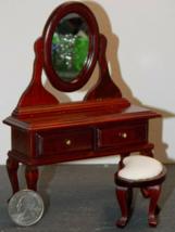 1 Set Vanity & Mirror Mahogany Dollhouse Miniature Wood 1:12 inch scale ... - $56.00