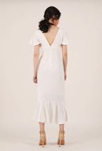 White V-neck Long Cocktail Dress Chiffon Retro Style High Waist Cocktail Dresses image 3