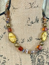 Premier Designs Chunky Amber Brown and Cream Necklace 22 Inches with Ext... - $19.79