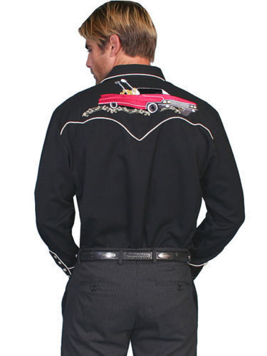Men's Western Guitar Shirt Long Sleeve Rockabilly Country Cowboy Embroidered