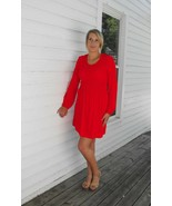 Vintage Red Smocked Dress Hippie Mod 70s Long Sleeve M L - $19.99