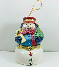 Mr Christmas Snowman Porcelain Animated Music Trinket Box Ornament - $23.75