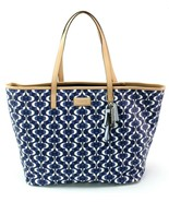 Coach Logo Tote Bag PVC Monogram Shopper Navy & Tan Large Handbag RRP £330 - $317.66